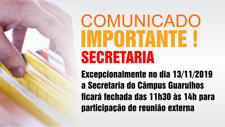 Comunicado Importante - Secretaria