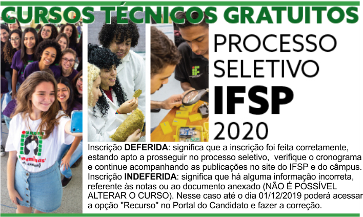 Processo Seletivo para cursos técnicos 2020