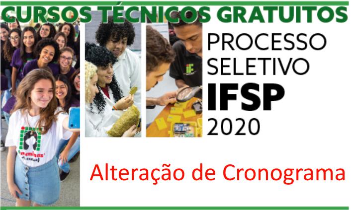 Processo Seletivo para cursos técnicos 2020 - Alteração de Cronograma