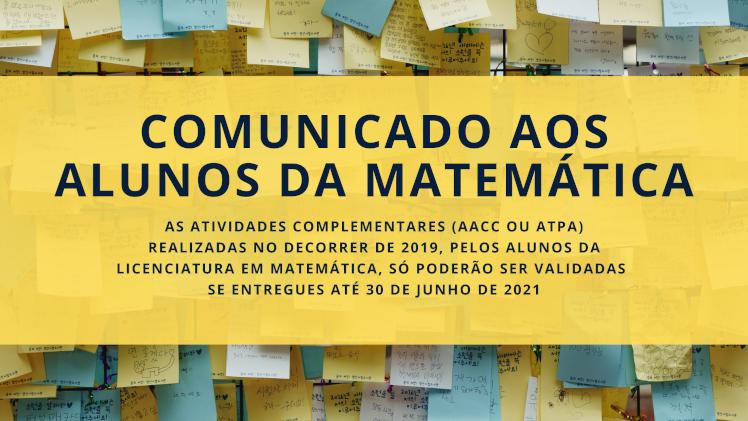 Comunicado aos alunos de matemática